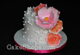 Pink Flower wedding Cake